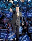Republican presidential candidate John McCain acknowledges the crowed as he goes on stage at the Republican National Convention in St. Paul, Minn., Thursday, Sept. 4, 2008.