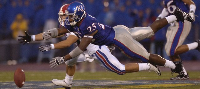 KU safety Darrell Stuckey (25) breaks up a pass Saturday, Sept. 6, 2008 during the Jayhawks home game against Louisiana Tech.