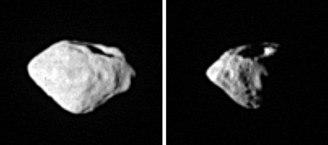 An image provided by the German Aerospace Center DLR on Saturday shows a two-photo combination of the asteroid Steins, taken around the time of Rosetta's closest approach to Steins during a flyby of the European Space Agency deep space probe Rosetta on Friday. Rosetta's camera stopped shortly before the closest pass, ESA officials said Saturday during a news conference in Darmstadt, Germany.