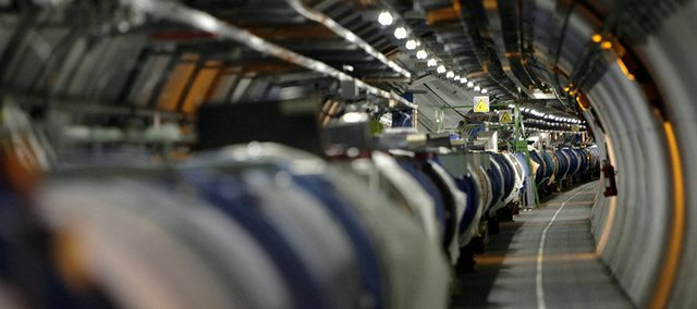 The collider is shown in its tunnel at the European Organization for Nuclear Research (CERN) near Geneva. The first beams of protons will be fired around the 17-mile tunnel Wednesday to test the controlling strength of the world's largest superconducting magnets.