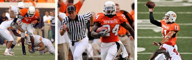 The Oklahoma State power trio of wide receiver dez bryant, left, running back Kendall Hunter, center, and quarterback Zac Robinson makes the Cowboys one of the most lethal offenses in the Big 12.