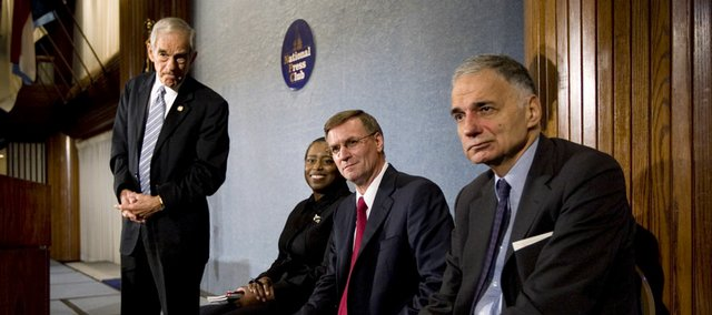 Rep. Ron Paul, R-Texas, left, a former 2008 presidential candidate, left, takes part in a news conference with third-party candidates Wednesday at the National Press Club in Washington, calling for greater inclusion of candidates beyond the Republican and Democratic majorities. With Paul, from left, are former Georgia Rep. Cynthia McKinney of the Green Party, Chuck Baldwin of the Constitution Party and independent Ralph Nader.