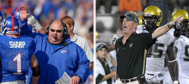 Kansas coach Mark Mangino, left, and South Florida coach Jim Leavitt, who will face each other at 7 tonight in a nationally televised game, both worked for former Kansas State coach Bill Snyder.