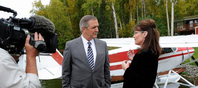 In this image provided by ABC, anchor Charles Gibson talks with Republican vice presidential candidate Sarah Palin in Wasilla, Alaska, during an interview. Excerpts from the interview aired Thursday and Friday.