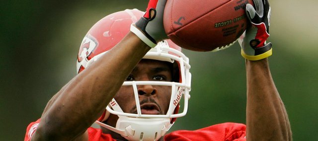 In this July 27 file photo, Kansas City Chiefs corner Brandon Carr works out during football training camp in River Falls, Wis. Kansas City will start two rookie cornerbacks on Sunday at Atlanta. On one side will be Brandon Flowers, who was handed the starting job after being drafted in the second round in April out of Virginia Tech. On the other is Carr, who was patrolling the secondary for Division II Grand Valley State last season.