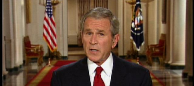 In this photo from television, President Bush speaks in a prime-time address from the Cross Hall of the White House in Washington, Wednesday.