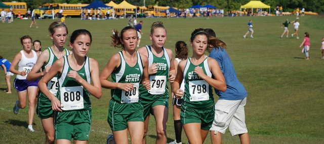 Sticking together has the been key for the Free State High cross country team this season. In this photo, taken in the later stages of last Saturday's race in Baldwin, are (from left to right) Hailey Donley, Amy Meyers, Lynn Robinson, Morgan Flannigan and Hayley Francis.
