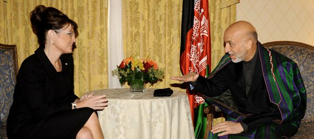 Republican vice presidential candidate Sarah Palin meets Afghan President Hamid Karzai on Tuesday in New York.