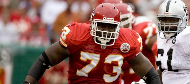 Adrian Jones, a former Kansas University tight end/offensive lineman, is now starting on the offensive line for the Kansas City Chiefs. Cut after hardly playing last year for the New York Jets, he signed with K.C. in the offseason and worked his way into the starting job at right guard.