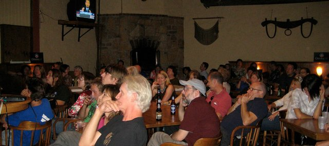 Approximately 230 people watched the first presidential debate at Abe and Jake's Landing on Friday night. The watch party was hosted by the Kansas Democratic Party.