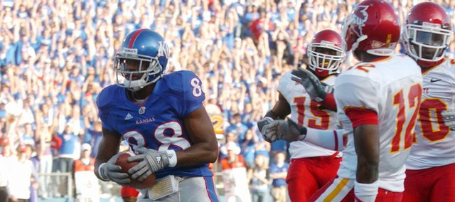 Kansas University's Dexton Fields, scoring against Iowa State in this Nov. 17, 2007, file photo, will return from his left foot injury Saturday against the Cyclones .