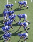 The Jayhawks run a few snaps prior to kickoff against Colorado on Saturday, Oct. 11, 2008 at Memorial Stadium.