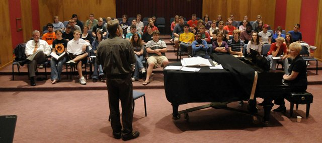 Tony Silvestri, a local historian and music lyricist, recently has gained fame for writing the words for the music of Eric Whitacre, who is a rock star of sorts in choral music. Silvestri was on hand at Baker University earlier last week giving instructions to Baker's choral group, who will be singing his words.