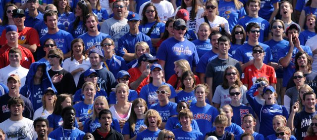 Kansas fans at KU's Memorial Stadium.