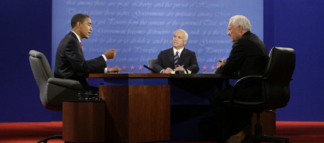 Democratic presidential candidate Sen. Barack Obama, D-Ill., left, and Republican candidate Sen. John McCain, R-Ariz., center, face off during a presidential debate at Hofstra University in Hempstead, N.Y., Wednesday. At right is moderator Bob Schieffer.