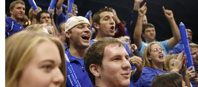 Jayhawk fans get psyched up Friday while packing into Allen Fieldhouse for Late Night in the Phog.