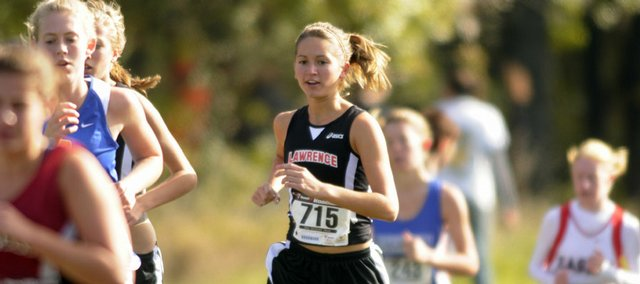 Lawrence High's Chole Hay runs in the middle of the lead runners on Saturday Oct, 18 2008 at the Sunflower League cross Country Meet at Rim Rock Farm.