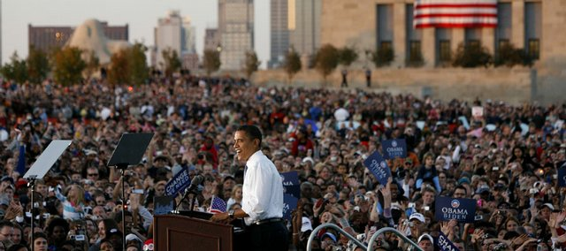 Democratic presidential candidate Sen. Barack Obama, D-Ill., addresses the crowd during a rally Saturday at the Liberty Memorial in Kansas City, Mo.