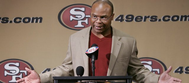 Mike Singletary, the San Francisco 49ers' new interim head coach, speaks at a news conference. Singletary was introduced Tuesday in Santa Clara, Calif.