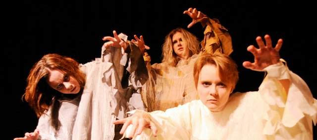 "Cast members, from left, Johanna McSweeney, Janette Salisbury and Rachel Sorrels star as Ghost Girls in ""Horrorshow II"" at the Lawrence Arts Center. The Lawrence company is celebrating its 10-year anniversary of presenting original productions."