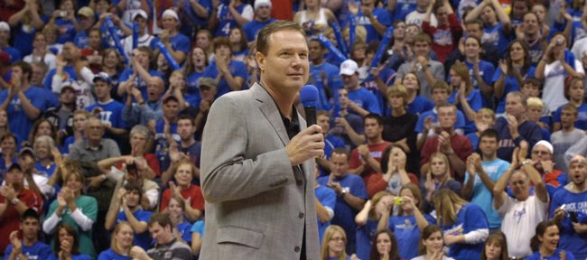 KU men's head coach Bill Self addresses a packed Allen Fieldhouse on Friday, Oct. 17, 2008 during Late Night in the Phog.