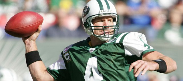 Jets quarterback Brett Favre prepares to throw. Favre had the 41st fourth-quarter comeback of his career Sunday.