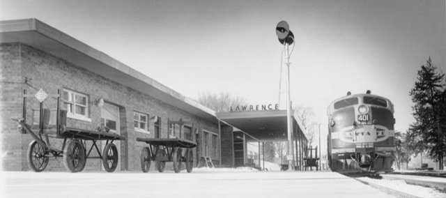 A view from the early days of the Burlington Northern Santa Fe Depot, which opened in 1956. Kansas University architect Warren Corman, who helped design the depot more than 50 years ago, talked about the building's past at a meeting of Depot Redux, which wants to renovate and preserve the structure.