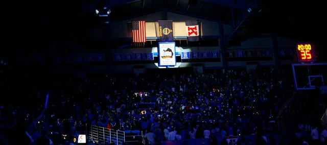 The Jayhawk's 2008 National Championship banner is unveiled Friday, Oct. 17, 2008 during Late Night in the Phog at Allen Fieldhouse.
