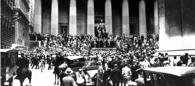 Crowds panic in the Wall Street district of Manhattan from the heavy trading on the stock market in New York City on Oct. 24, 1929. From the stock market crash that launched the Great Depression to Black Monday of 1987 to this year's market meltdown, October has proven a tough month for the stock market.