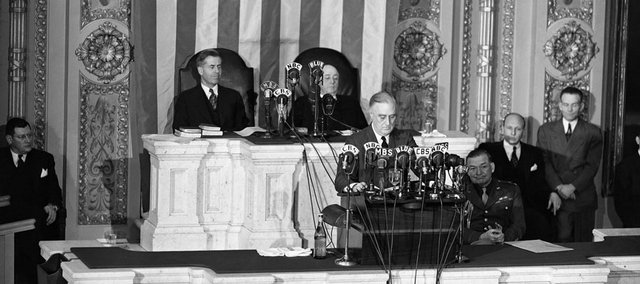 In this Jan. 7, 1943, file photo, President Franklin D. Roosevelt faces the new 78th Congress to report on the Progress of the Nation in a year of War. President-elect Barack Obama, like Roosevelt, faces several crises when he walks into the Oval Office as president of the United States.