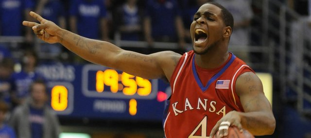 Kansas guard Sherron Collins calls out a play against Emporia State during the first half Tuesday, Nov. 11, 2008 at Allen Fieldhouse.
