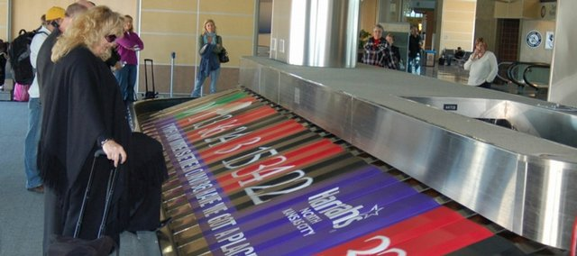 Kansas City International Airport now has advertisements on at least two of its baggage carousels. This one is for Harrah's North Kansas City.