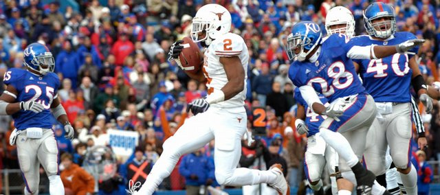 Texas sophomore running back Vondrell McGee glides into the end zone for another Texas touchdown Saturday, Nov. 15, 2008 during the Jayhawks' home 35-7 loss.