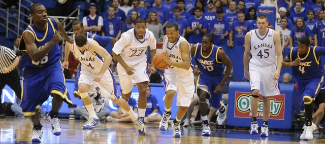 Kansas guard Travis Releford leads the charge up the court against UMKC during the second half Sunday, Nov. 16, 2008 at Allen Fieldhouse.