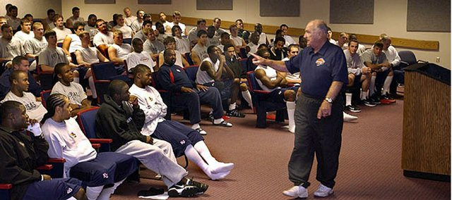 Former Kansas University football player and coach Don Fambrough delivers a pep talk prior to the 2004 Kansas-Missouri game in this file photo.