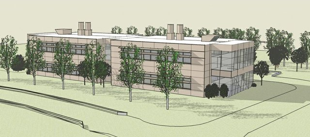 This artist's rendering shows the proposed Lawrence Regional Life Sciences Incubator. The Kansas Bioscience Authority will decide early next year whether to invest in the facility, which would be on the Kansas University West Campus. Becker Drive is shown in the foreground.
