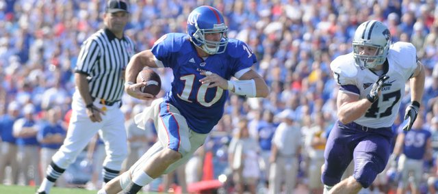 Kansas receiver Kerry Meier takes off after a reception past Kansas State linebacker Alex Hrebec during the second quarter Saturday, Nov. 1, 2008 at Memorial Stadium.