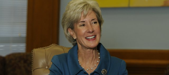 Gov. Kathleen Sebelius talks with reporters about energy issues, the state's ties with the new president, and gambling, among other issues she wants to tackle in 2009.