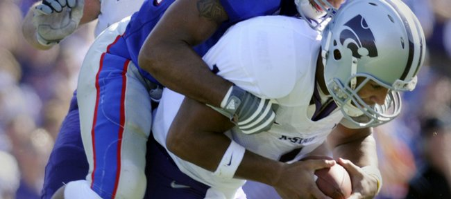 Kansas State quarterback Josh Freeman, shown in this November 1, 2008, file photo against Kansas, plans on skipping his senior season to enter the NFL draft.