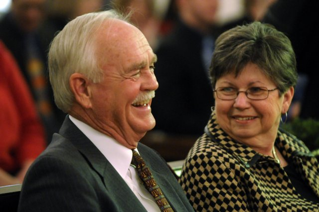 Judge Jack Murphy, along with his wife Rosemary enjoy a few moments Friday January 9, 2009 at the Old Courthouse where friends and family gathered to honor Judge Murphy for 15 years of service.