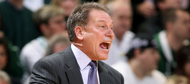 Michigan State coach Tom Izzo yells instructions during the first half of an NCAA college basketball game against Ohio State on Tuesday, Jan. 6, 2009, in East Lansing, Mich. Michigan State won 67-58.