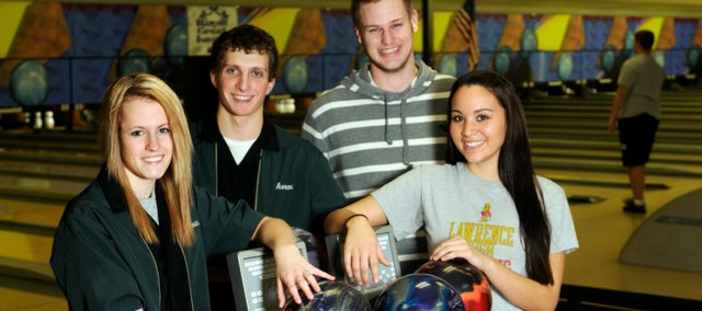 From left, Free State bowlers Lanae Spencer and Aaron Bernherdt and Lawrence High bowlers Tyler Bailey and Alexah Gudenkauf, pictured Monday at Royal Crest Lanes, are seniors leaders for their teams. Free State kicks off its season today.