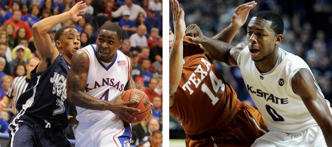 Kansas University guard Sherron Collins, left, guarded by Jackson State's Rod Melvin in a Dec. 6, 2008, file photo, and Kansas State guard Jacob Pullen, right, guarded by Texas' D.J. Augustin in a Feb. 25, 2008, file photo, will matchup against one another in tonight's game. Both Collins and Pullen are Chicago natives.