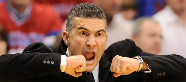 Kansas State head coach Frank Martin screams at the Wildcats during a break in action in the first half Tuesday, Jan. 13, 2009 at Allen Fieldhouse.