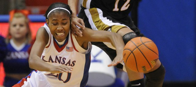 KU's Sade Morris goes for a ball against Missouri on Wednesday, Jan. 14, 2008 at Allen Fieldhouse.