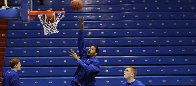 Kansas forward Markieff Morris spins around for a shot during warmups before taking on Texas A&M Monday, Jan. 19, 2009 at Allen Fieldhouse.
