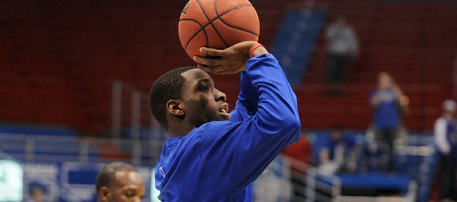 Kansas guard Tyshawn Taylor puts up a jumper during warmups before taking on Tennessee Saturday, Jan. 3, 2009 at Allen Fieldhouse.