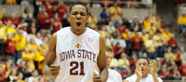 Iowa State forward Craig Brackins celebrates a three-point bucket during the first half, Saturday, Jan. 24, 2009 at Hilton Coliseum in Ames, Iowa.
