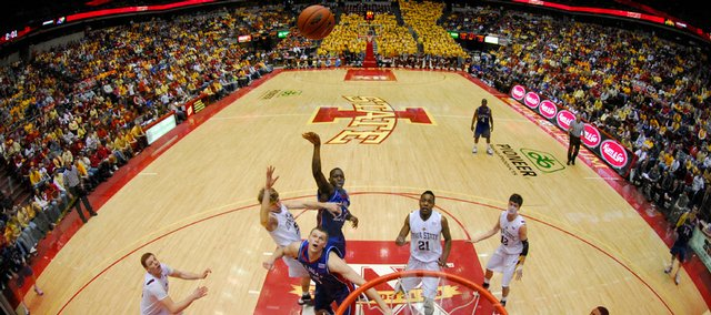 Kansas guard Mario Little puts up a floater over the Iowa State defense during the first half, Saturday, Jan. 24, 2009 at Hilton Coliseum in Ames, Iowa.