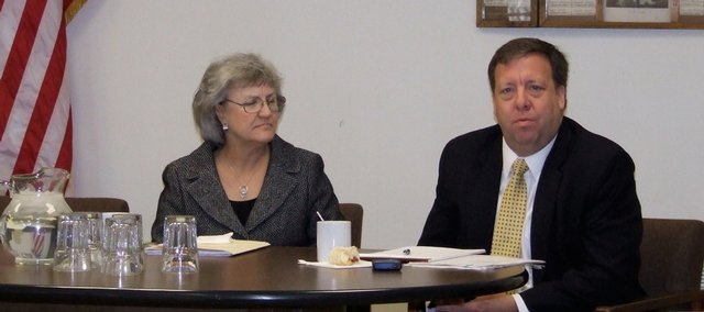42nd District state Rep. Connie O'Brien and State Sen. Tom Holland speak at a January 2009 legislature update event hosted by the Veterans of Foreign Wars Post 9271 in Tonganoxie.